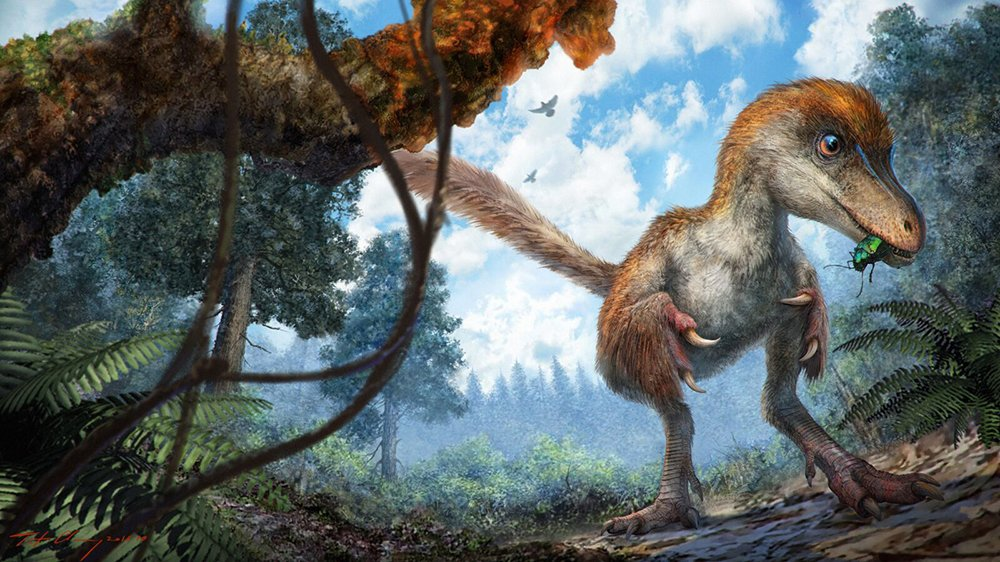 Reconstruction of small dinosaur approaching tree resin