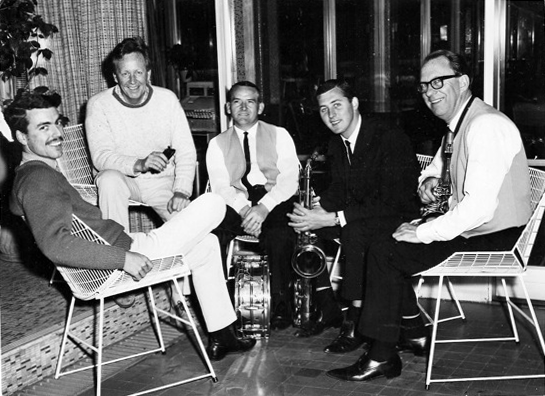 Bryce Rohde Quintet 1962: L-R: Bruce Cale, Bryce Rohde, Mark Bowden, Sid Powell and Charles Munro