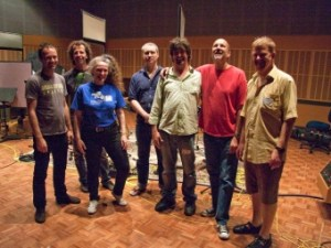 Brett Hirst, Alister Spence, Sandy Evans, Phil Slater, Toby Hall, Hamish Stuart, James Greening at the recording session