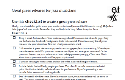 Better press releases for jazz musicians