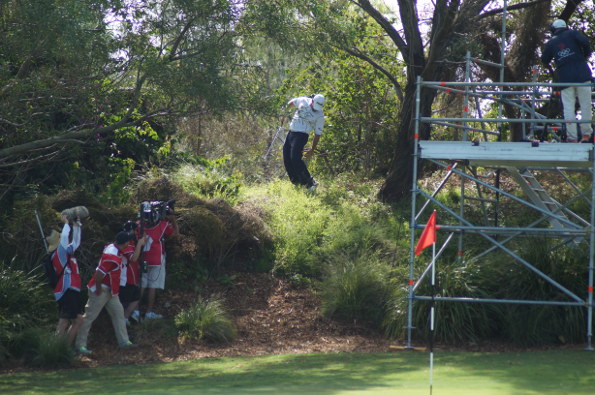 English visitor Lee Westwood went bush on the 13th, flying the green and almost losing footing as he examined the appropriate place for a drop behind the TV tower