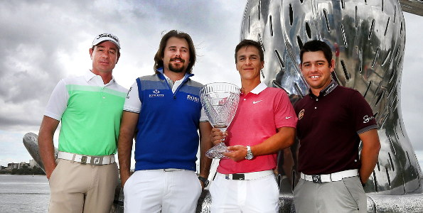 Perth International players Brett Rumford, Victor Dubuisson, Thorbjorn Olesen and Louis Oosthuizen visit the city's new waterfront area.