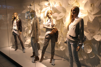 collection of fashion dress on mannequin