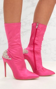 Fuchsia Satin Diamante Detail Heeled Ankle Boots