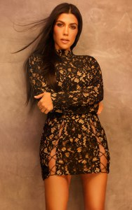 Black Lace Eyelet Detail Extreme Split Bodycon Dress