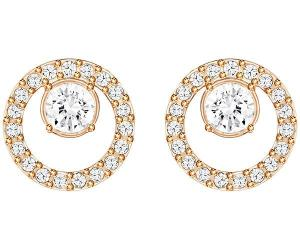 Swarovski Creativity Circle Pierced Earrings, Small, White, Rose Gold Plating White Rose gold-plated