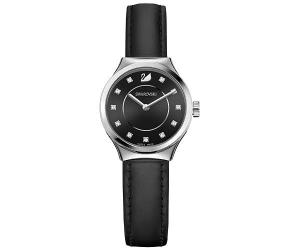 Swarovski Dreamy Watch, Leather strap, Black, Silver tone White Stainless steel