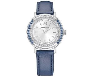 Swarovski Playful Lady Watch, Leather strap, Blue, Silver tone Teal Stainless steel