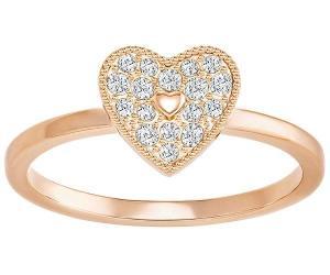 Swarovski Field Folded Heart Ring, White, Rose Gold Plating Pink Rose gold-plated