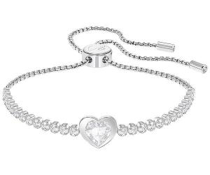 Swarovski Subtle Heart Bracelet, White, Rhodium plating White Rhodium-plated