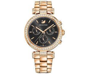 Swarovski Era Journey Watch, Metal bracelet, Black, Rose gold tone White Rose gold-plated