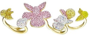 LIGHT ORCHID OPEN RING, MULTI-COLOURED, GOLD PLATING