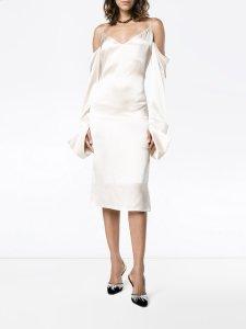 MICHAEL LO SORDO Cold-shoulder silk midi-dress