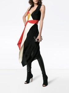 KITX black and red Diversity Spiral draped silk dress