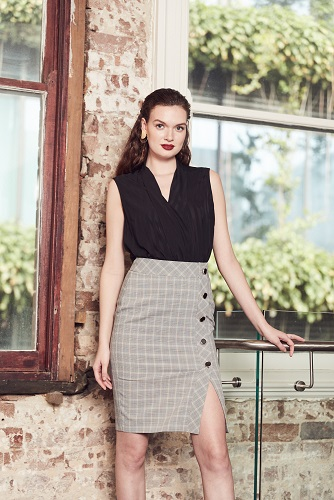 Julianna Crossover Top + Leslie Pencil Skirt
