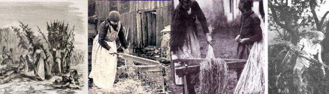 Bauern bei der Hanfverarbeitung