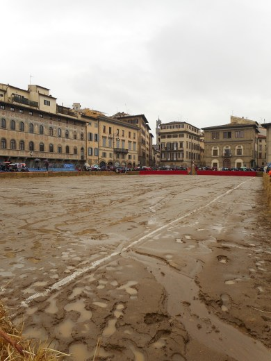 Very Wet Sand Pitch on the Piazza Santa Croce