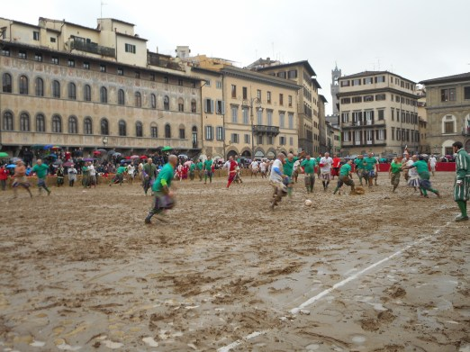 Wet and very deep sand pitch.