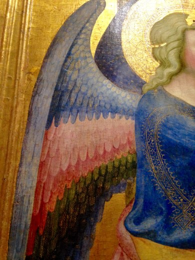 "A Close-Up of the Wings of the Angel in ""Annunciazione"" by Maestro della Madonna Strauss"