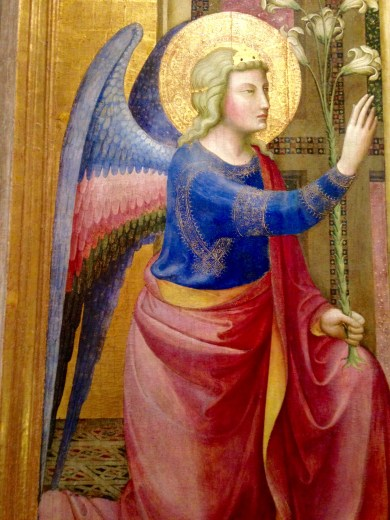 "Angel in Painting ""Annunciazione"" by Maestro della Madonna Strauss"