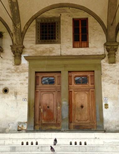 Doors in Florence near Basilica della Santissima Annunziata - Love the Pigeons in the Photo
