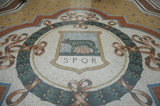 A Mosaic Floor Showing the Roman Seal in Galleria Vittorio Emanuele II in Milan