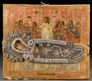 Dormition of the Mother of God icon with partially beaded riza, Ukrainian or Russian
