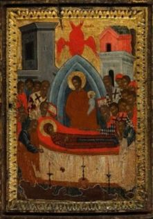 Dormition of the Mother of God, XVI Century, (luscious reds in gold were created with egg)