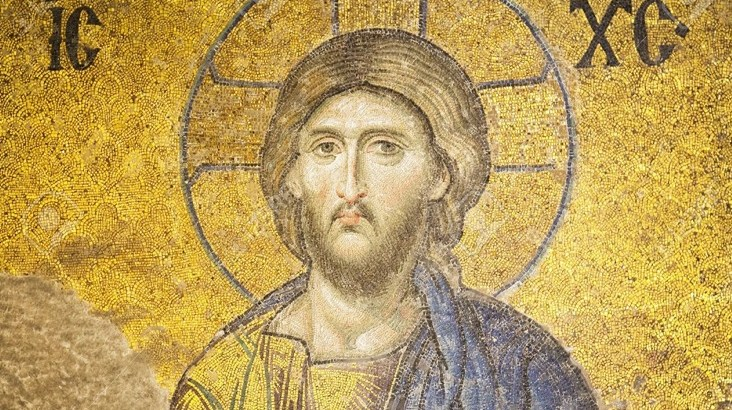 Mosaic of Jesus Christ found in the old church of Hagia Sophia, Istanbul, Turkey