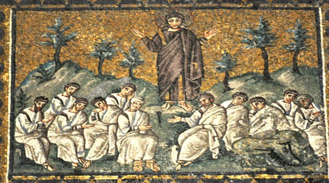 Jesus in the Garden of Gethsemane, The Sermon on the Mount, Mosaic-Church-of-SantApollinare-Nuovo-Ravenna