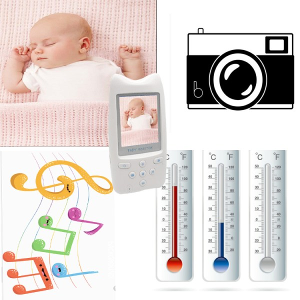 Baby Monitor with 70 Degree Angle 2.4''Color  Screen Support Two Way Audio 5