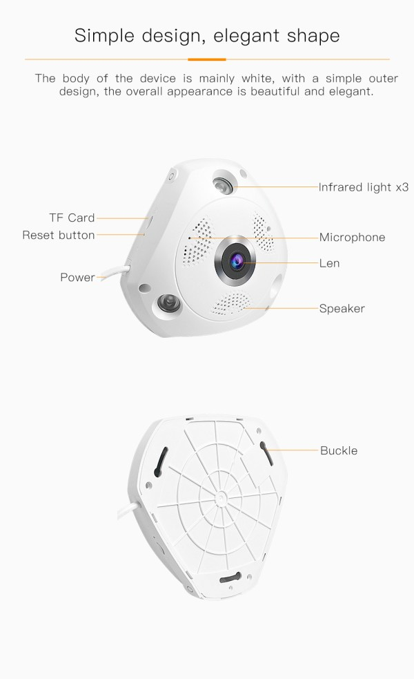 3MP Panorama Camera WIFI Wireless Fish eye Two Way Audio Security System 8
