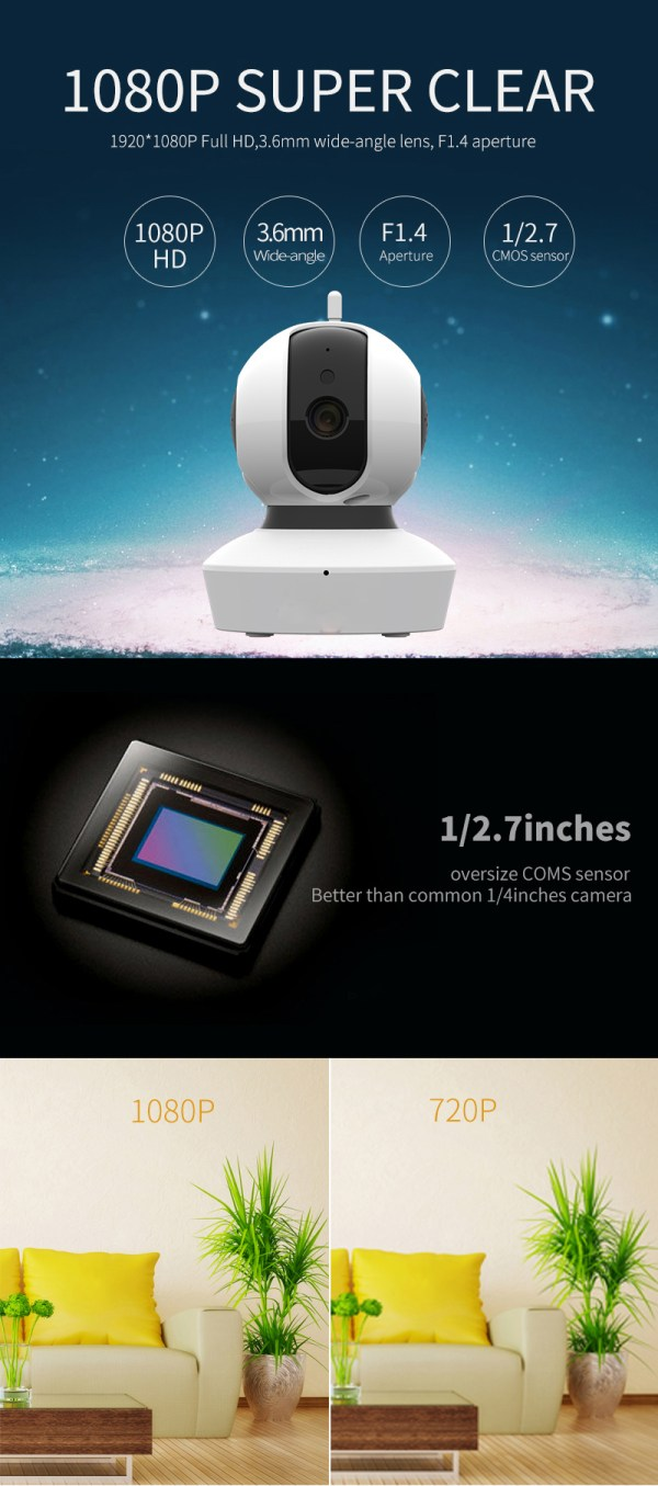 Wireless Home Security Camera Pan Tilt Full HD 1080P Mini Dome Day Night Camera 2