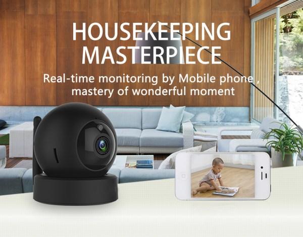 1080P CCTV Camera Day Night Mini Wifi Indoor Baby Monitor In Black 2