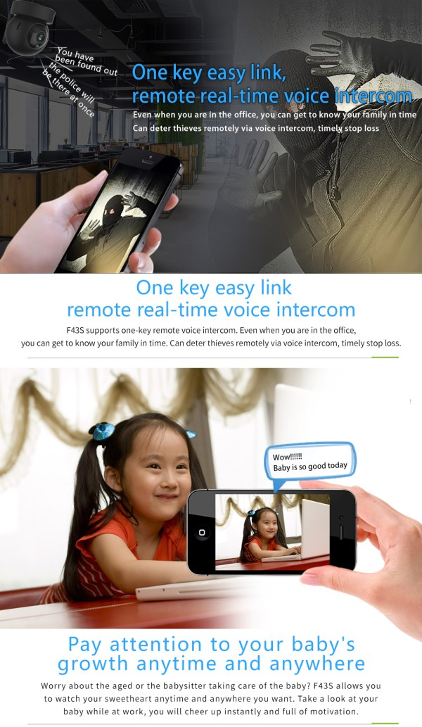 1080P CCTV Camera Day Night Mini Wifi Indoor Baby Monitor In Black 5