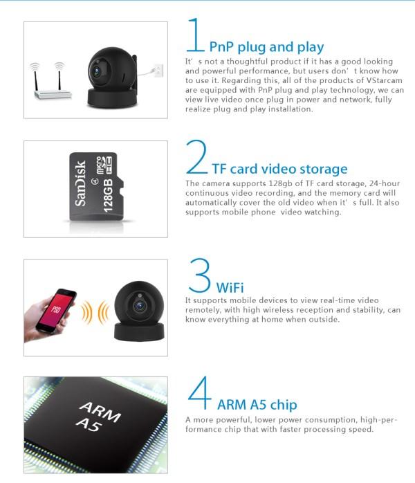1080P CCTV Camera Day Night Mini Wifi Indoor Baby Monitor In Black 9