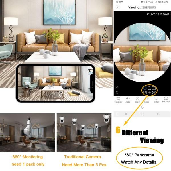 Wireless E27 Bulb WIFI Camera Panoramic 360Degree Mini IR CUT Home Security CCTV Camera 2MP 3MP 5MP Optional 5