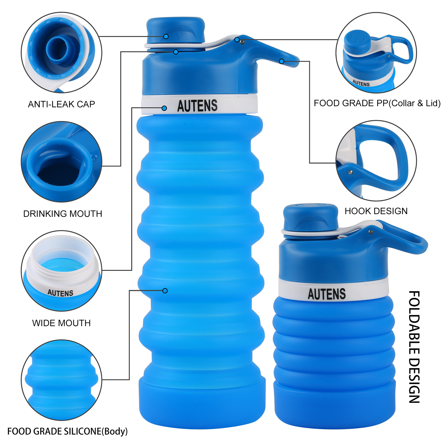 BPA Free Silicone Foldable Water Bottle for Travel ONTA Collapsible Water Bottle FDA Approved Food-Grade Silicone Portable Leak-Proof Travel Water Bottle 20oz