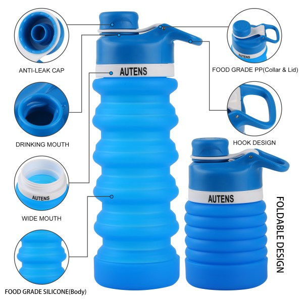 Collapsible Water Bottle 550ml, Leak Proof, BPA Free, FDA Approved, Wide Mouth, Lightweight Food-Grade Silicone 11
