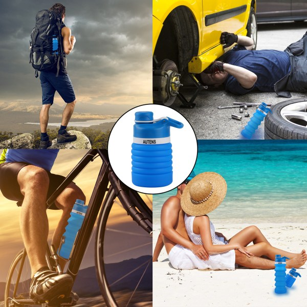 Collapsible Silicone Water Bottle Blue 550ml Auction 5