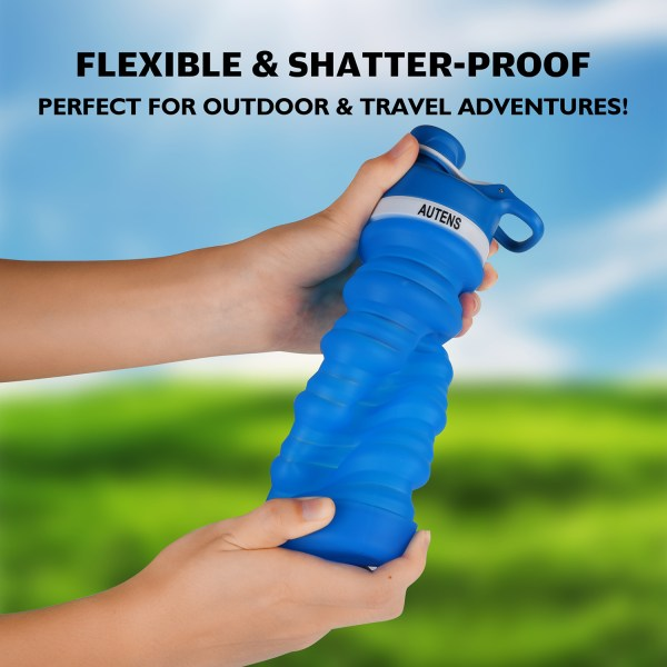 Collapsible Silicone Water Bottle Blue 550ml Auction 6
