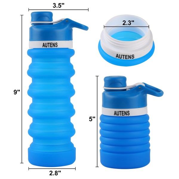 Collapsible Water Bottle 550ml, Leak Proof, BPA Free, FDA Approved, Wide Mouth, Lightweight Food-Grade Silicone 12