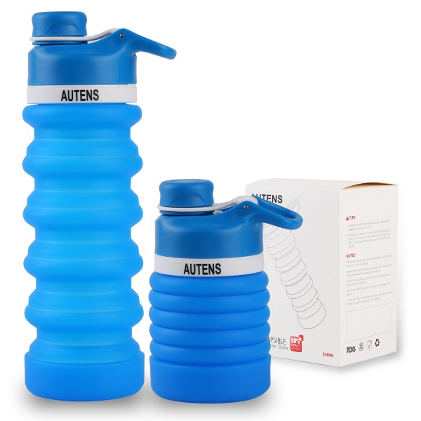 Collapsible Silicone Water Bottle Blue 550ml Auction 1