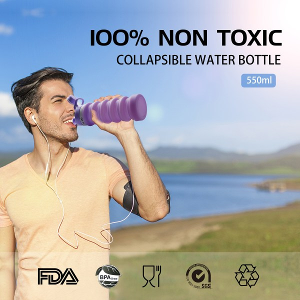 Collapsible Silicone Water Bottle Purple 550ml Auction 4