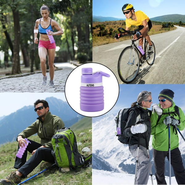 Collapsible Silicone Water Bottle Purple 550ml Auction 5