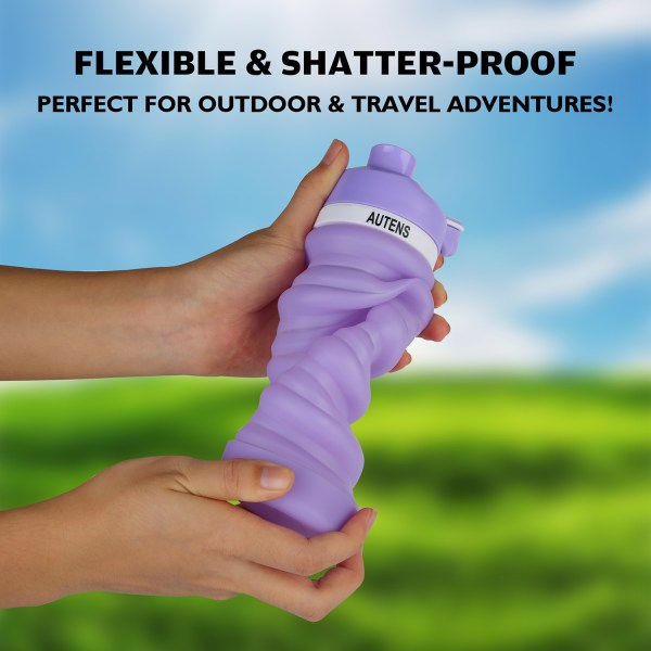 Collapsible Silicone Water Bottle Purple 550ml Auction 3