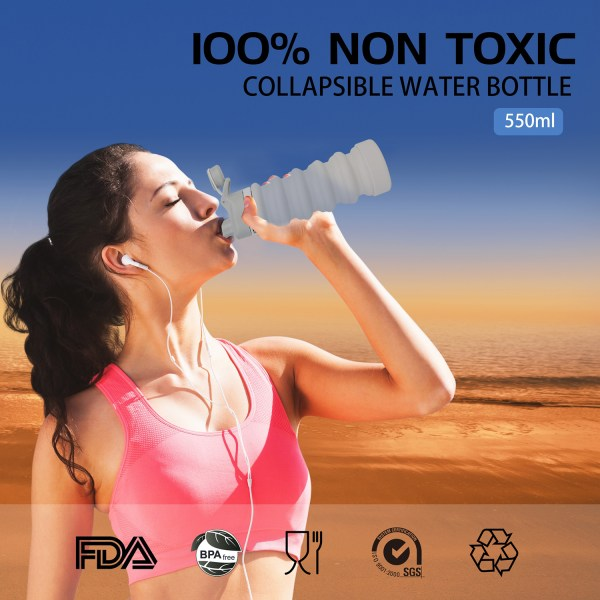 Collapsible Water Bottle 550ml, Leak Proof, BPA Free, FDA Approved, Wide Mouth, Lightweight Food-Grade Silicone 2