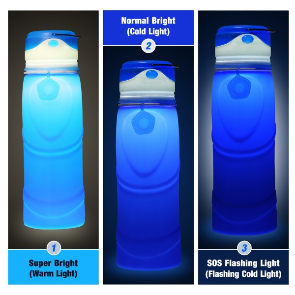 Collapsible Water Bottle BPA Free Wide Mouth 750ml with LED Light USB Charging 3 Lighting Modes 2
