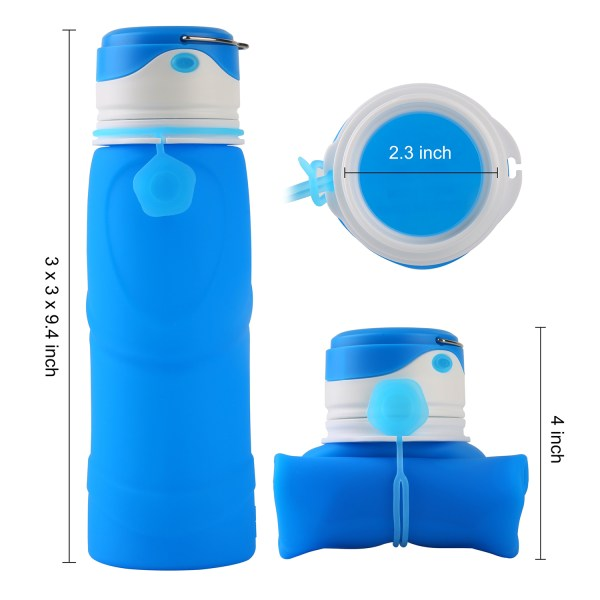 Collapsible Water Bottle BPA Free Wide Mouth 750ml with LED Light USB Charging 3 Lighting Modes 4