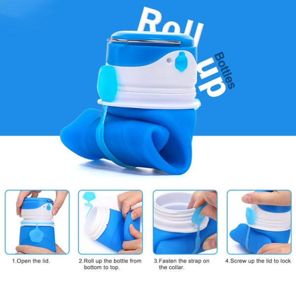 Collapsible Water Bottle BPA Free Wide Mouth 750ml with LED Light USB Charging 3 Lighting Modes 8